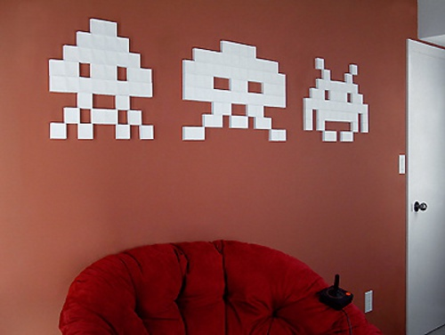Decoracion geek marcianitos space invaders videojuegos