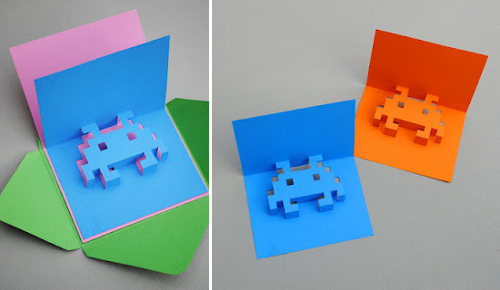 DIY postales 3D marcianitos space invaders