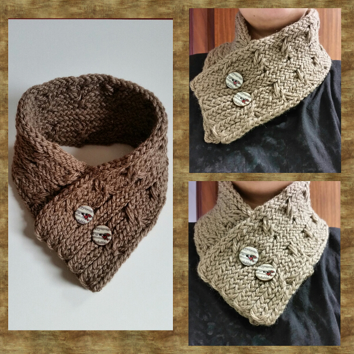 Loom knitted cabled cowl scarf
