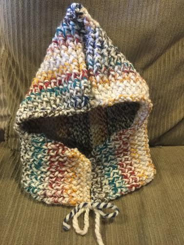 Loom knitted hooded cowl by Laura S