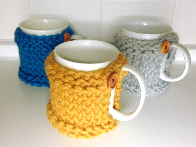 How to loom knit mug coaster cozy tutorial