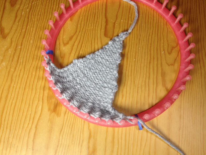 How to loom knit an ear flap triangle