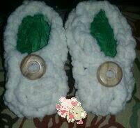 Loom knitted baby shoes by Crystal F.