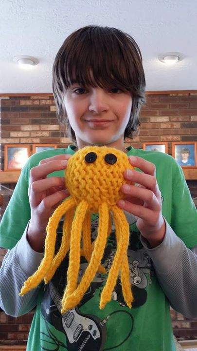 Loom knitted octopus by Kelly C.