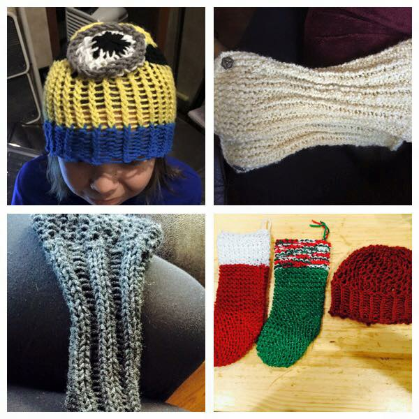 Loom knitted minion hat and other creations by Amy B.