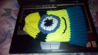 Loom knitted minion hat by Gaby H.