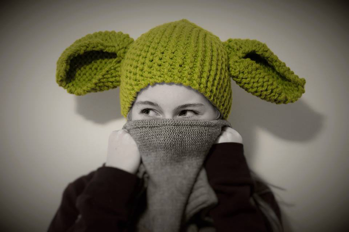 Loom knitted Yoda Hat by Nathalie A.