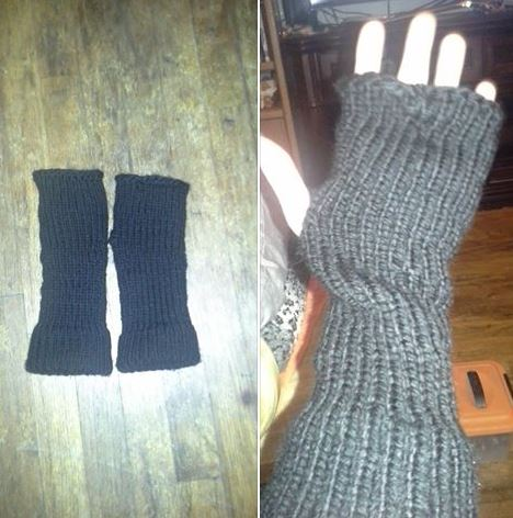 Fingerless mittens loom knitted by Melissa L