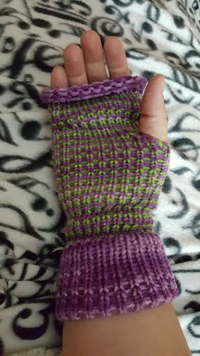 Loom knitted fingerless mittens by Sherrie SMA