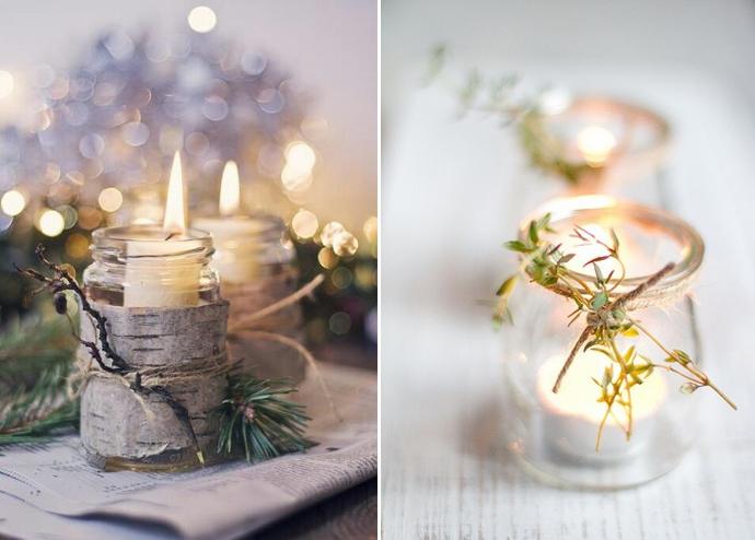 Iluminaci n con velas navide as caseras for Adornos navidenos con copas y velas