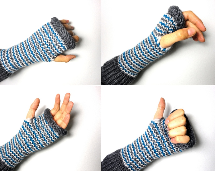 DIY tutorial how to loom knit fingerless mittens gloves