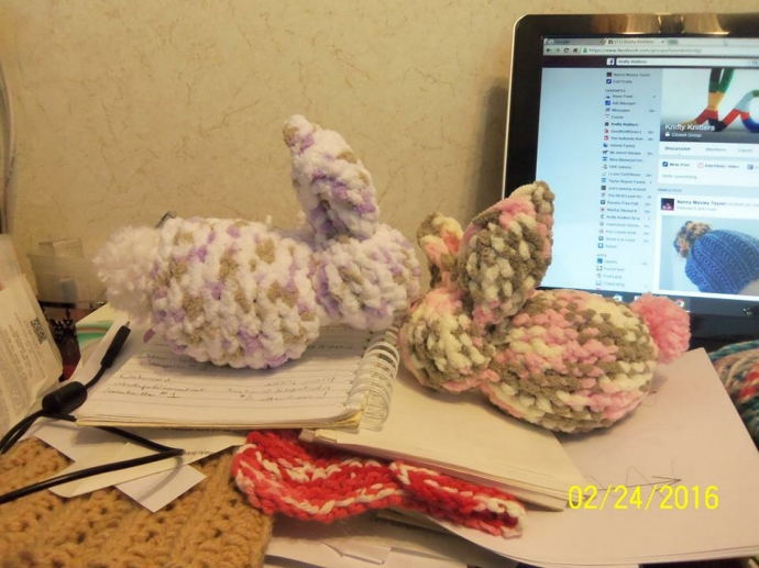 Loom knitted bunnies by Nancy M.