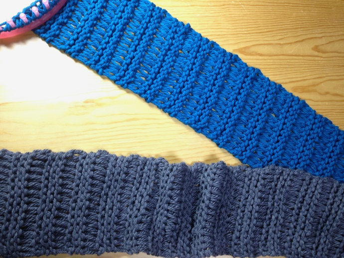 How to loom knit elongated stitch magic scarf cowl