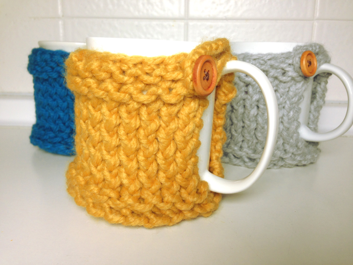 DIY loom knitted mug coaster cozy tutorial