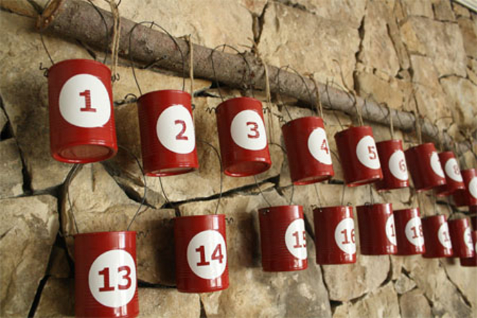 DIY advent calendar made with recycled cans