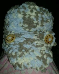 Loom knitted baby visor hat by Cristal F.