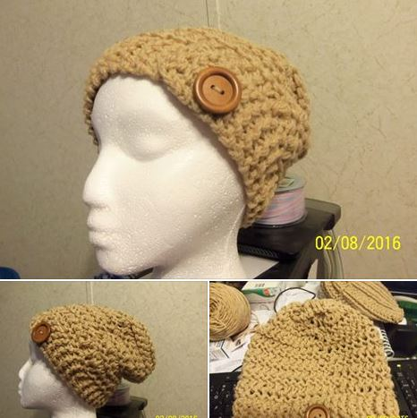 Loom knitted hat by Nancy M.
