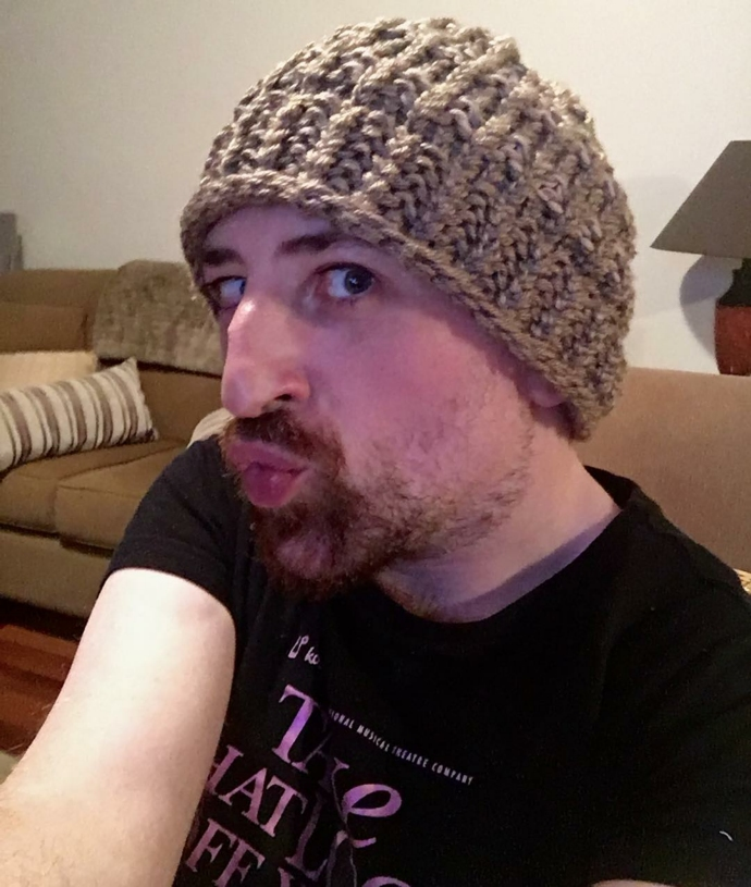 Loom knitted hat by @da_moley