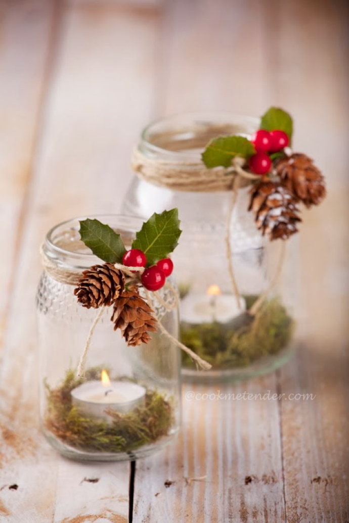 8 ideas diy para decorar la mesa en navidad - Decorar con velas ...