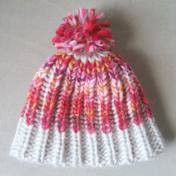 Loom knitted brioche stitch hat by @brittmade